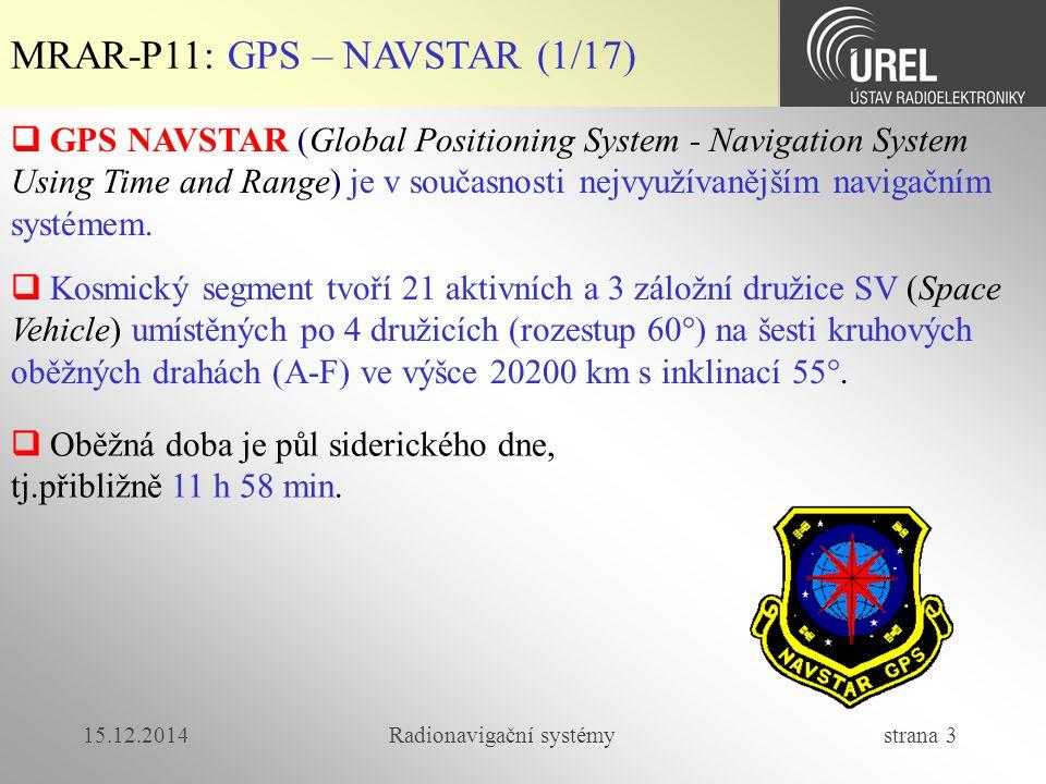 15.12.2014Radionavigační systémy strana 44 MRAR-P11: GALILEO (19/30)  Navigační a datové zprávy  Navigační a časová data jsou generována v GALILEO GMS (Ground Mission Segment) a poskytována dále všem družicím přes datové kanály  Integritní data jsou generována v GALILEO GMS a dále rozeslána do všech družic přes datové kanály signálů E5b a L1F  Komerční data od externích poskytovatelů, která před odesláním na družice budou koordinována s GALILEO Control Center (GCC).