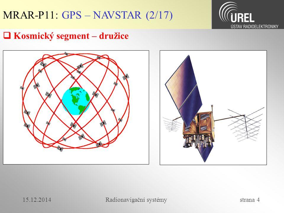 15.12.2014Radionavigační systémy strana 5 MRAR-P11: GPS – NAVSTAR (3/17)   Technologie GPS družic  Block I – počáteční fáze (do 1995) – životnost cca 5 let  Block II (od 1989) – životnost 7,5 roku  Block IIA – upgraded ver.