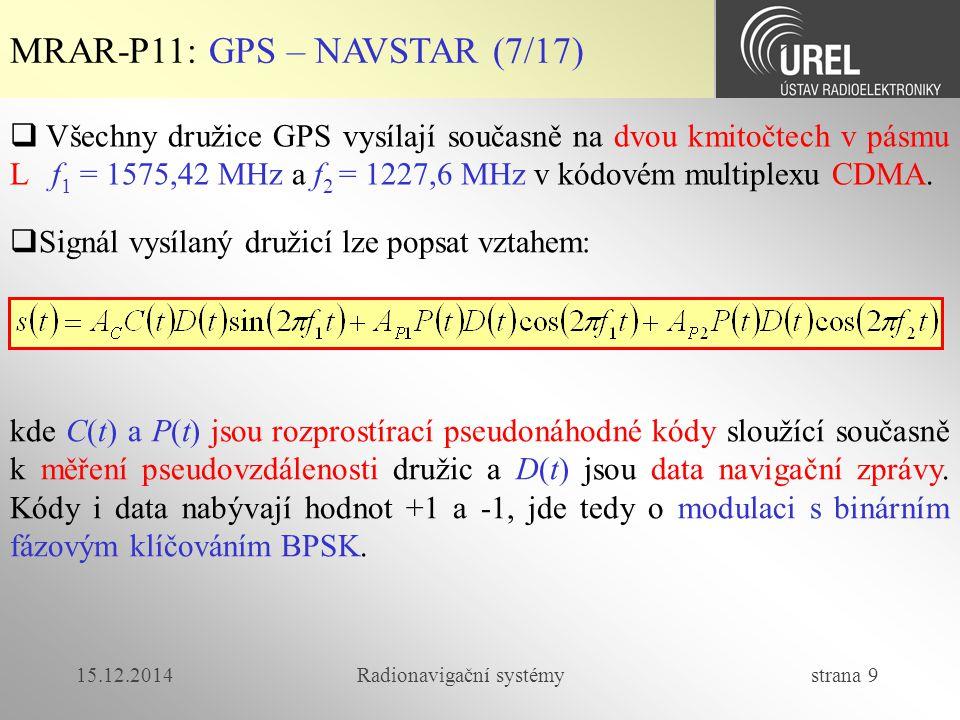 15.12.2014Radionavigační systémy strana 20 MRAR-P11: GLONASS (1/4)  GLONASS (Globalnaja navigacionnaja sputnikovaja sistema) je ruský GNSS systém založený na pasivní dálkoměrné metodě.