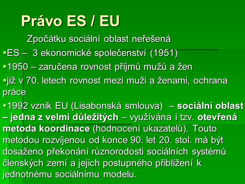 Právo ES / EU Zpočátku sociální oblast neřešená  ES – 3 ekonomické společenství (1951)  1950 – zaručena rovnost příjmů mužů a žen  již v 70. letech