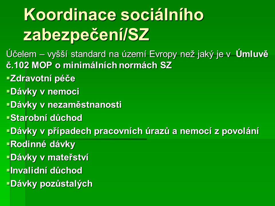 Koordinace sociálního zabezpečení/SZ Účelem – vyšší standard na území Evropy než jaký je v Úmluvě č.102 MOP o minimálních normách SZ  Zdravotní péče
