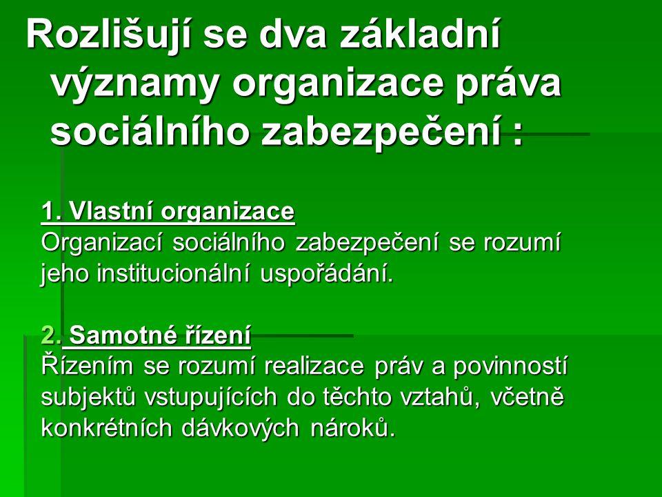 Rozlišují se dva základní významy organizace práva sociálního zabezpečení : 1. Vlastní organizace Organizací sociálního zabezpečení se rozumí jeho ins