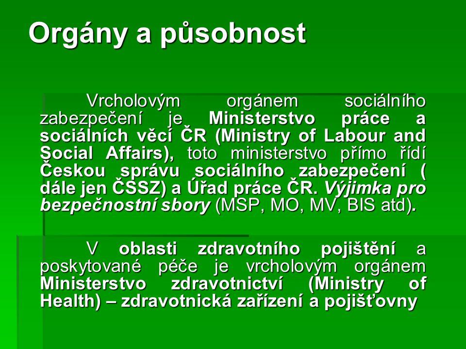 Orgány a působnost Vrcholovým orgánem sociálního zabezpečení je Ministerstvo práce a sociálních věcí ČR (Ministry of Labour and Social Affairs), toto