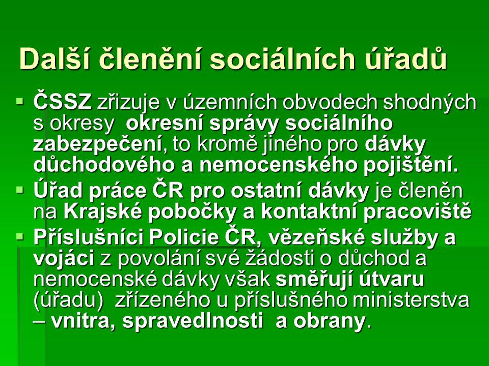 Další členění sociálních úřadů  ČSSZ zřizuje v územních obvodech shodných s okresy okresní správy sociálního zabezpečení, to kromě jiného pro dávky d