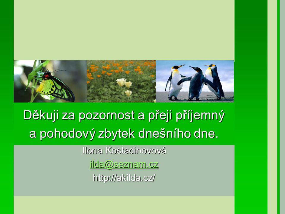 Ilona Kostadinovová ilda@seznam.cz ilda@seznam.czhttp://akilda.cz/ Děkuji za pozornost a přeji příjemný a pohodový zbytek dnešního dne.
