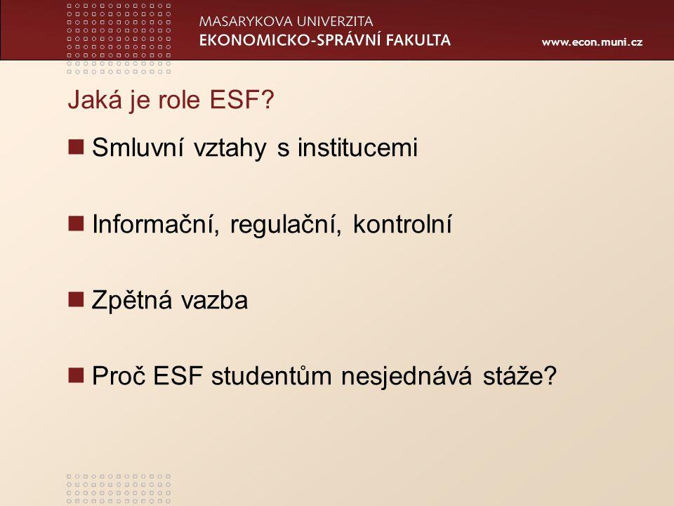 www.econ.muni.cz Jaká je role ESF? Smluvní vztahy s institucemi Informační, regulační, kontrolní Zpětná vazba Proč ESF studentům nesjednává stáže?