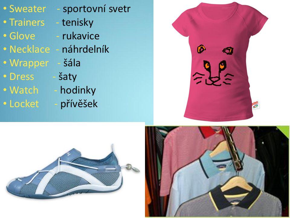  Wristlet - náramek  Short´s - kraťasy  Brief´s - kalhotky  Shoes - boty  T-shirt - tryko  Trouser´s - kalhoty  Skirt - sukně  Jumper - svetr  Jacket - bunda