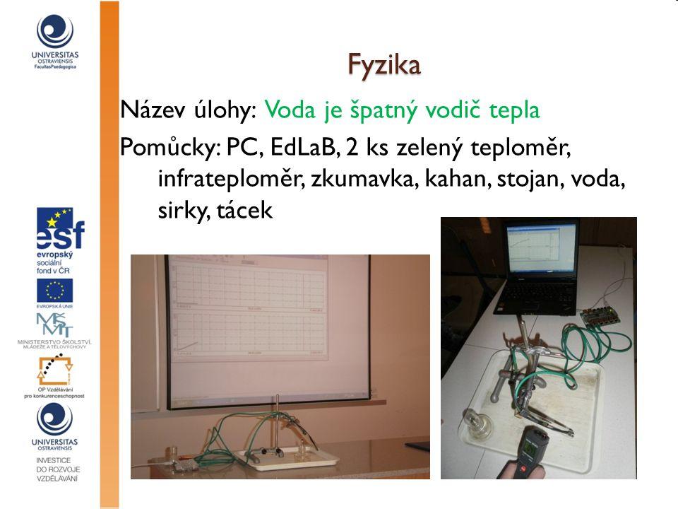 Fyzika Název úlohy: Voda je špatný vodič tepla Pomůcky: PC, EdLaB, 2 ks zelený teploměr, infrateploměr, zkumavka, kahan, stojan, voda, sirky, tácek