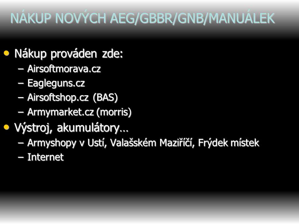 PŮJČOVANÍ AIRSOFTOVÝCH ZBRANÍ AEG/GNB/GBBR byly půjčeny pro hru: AEG/GNB/GBBR byly půjčeny pro hru: –Tomáš Hrňa –Jiří Trlica –Martin Koňařík –Ondřej Pončík –Jan Videcký Úrazy způsobené zapůjčenou AEG/GNB/GBBR Úrazy způsobené zapůjčenou AEG/GNB/GBBR Poškození zapůjčené zbraně Poškození zapůjčené zbraně Ochranné pomůcky k zapůjčení Ochranné pomůcky k zapůjčení