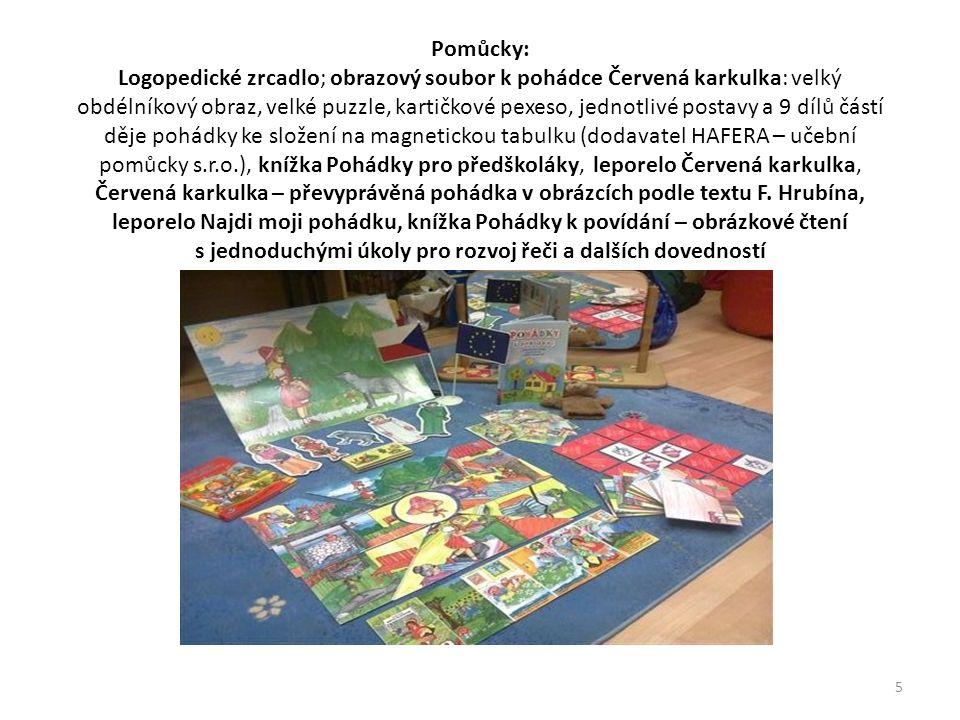 Pomůcky: Logopedické zrcadlo; obrazový soubor k pohádce Červená karkulka: velký obdélníkový obraz, velké puzzle, kartičkové pexeso, jednotlivé postavy