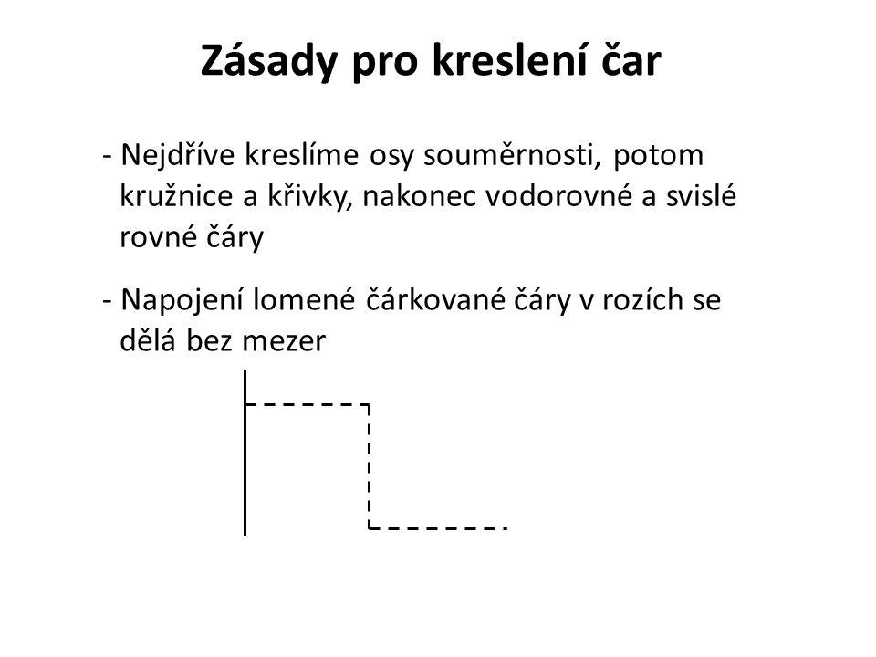 - Čerchovaná čára musí mít na konci čárku, osy se kříží čárkou a přesahují přes obrys
