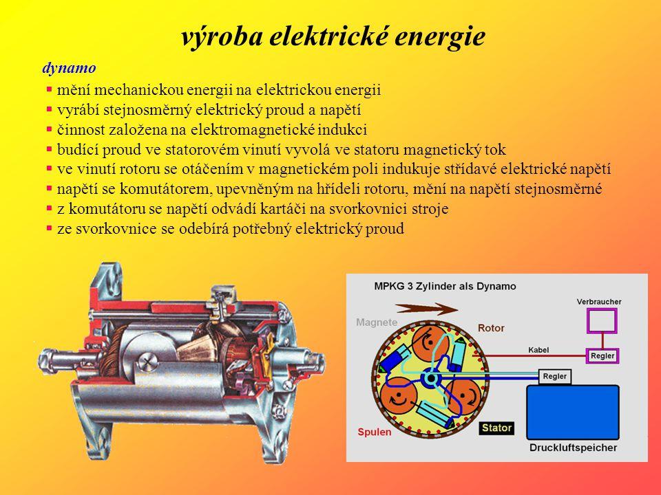 výroba elektrické energie dynamo  mění mechanickou energii na elektrickou energii  vyrábí stejnosměrný elektrický proud a napětí  činnost založena