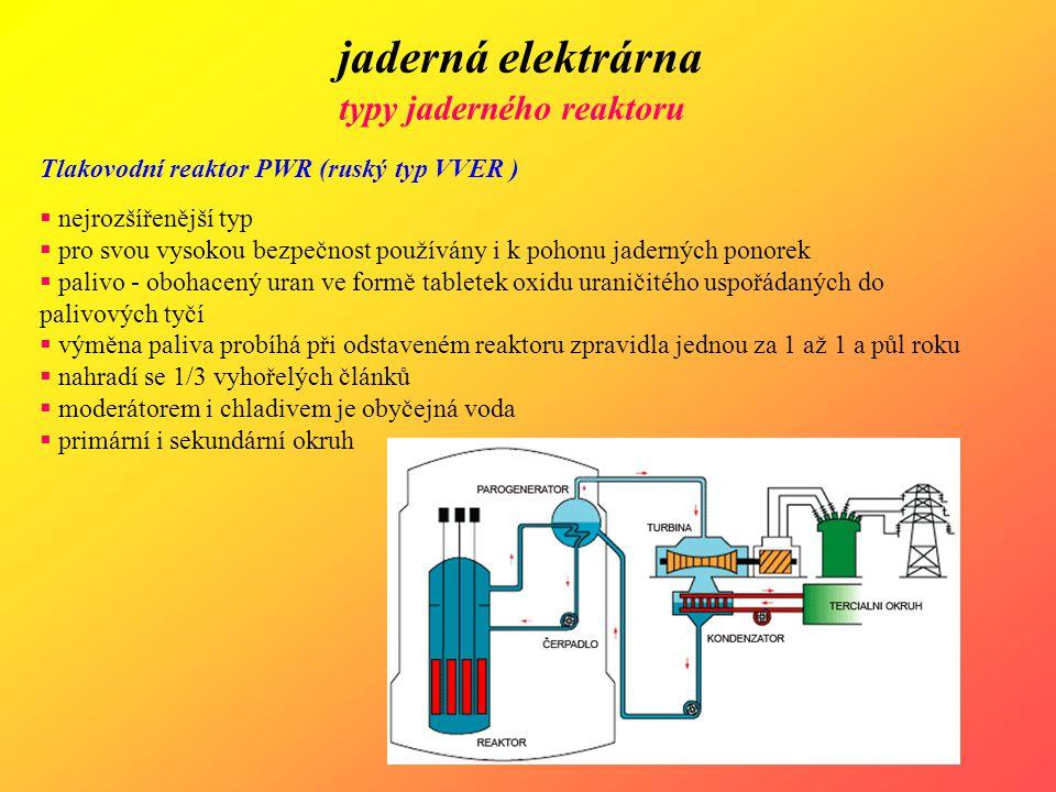 jaderná elektrárna typy jaderného reaktoru Tlakovodní reaktor PWR (ruský typ VVER )  nejrozšířenější typ  pro svou vysokou bezpečnost používány i k