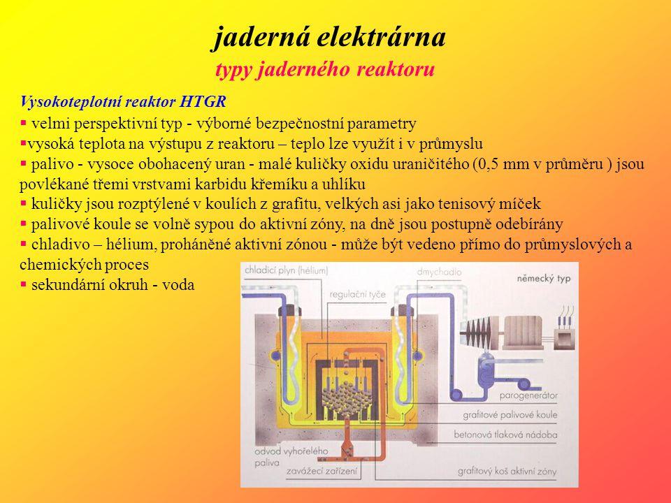 jaderná elektrárna typy jaderného reaktoru Vysokoteplotní reaktor HTGR  velmi perspektivní typ - výborné bezpečnostní parametry  vysoká teplota na v