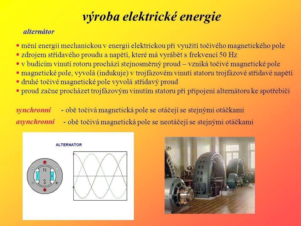 výroba elektrické energie fázování alternátoru  úprava parametrů vyrobené elektrické energie  nutné pro připojení k elektrizační soustavě přesné fázování (přesná synchronizace)  alternátor musí dávat stejně velké napětí, jako je napětí v síti  nesmí být mezi oběma fázový posun  kmitočet a sled fází napětí alternátoru musí odpovídat napětí sítě asynchronní fázování (samosynchronizace)  nenabuzený alternátor se roztočí na otáčky blízké synchronním  alternátor se zapne na síť a okamžitě se přibudí  sám se vtáhne do synchronismu