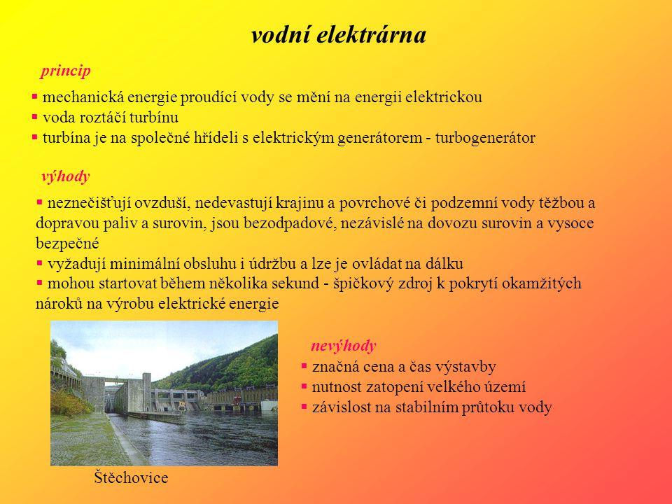 vodní elektrárna výhody  neznečišťují ovzduší, nedevastují krajinu a povrchové či podzemní vody těžbou a dopravou paliv a surovin, jsou bezodpadové,