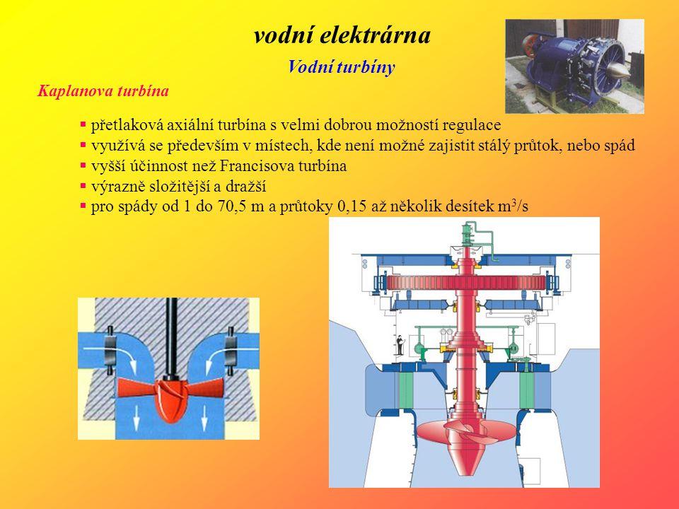 vodní elektrárna Vodní turbíny Kaplanova turbína  přetlaková axiální turbína s velmi dobrou možností regulace  využívá se především v místech, kde n