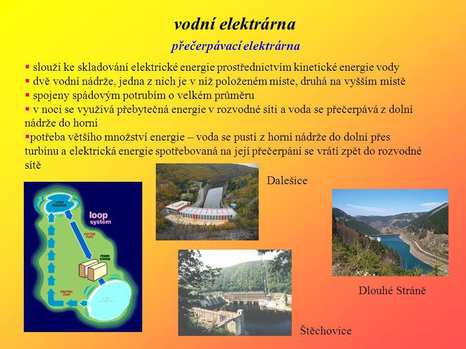 vodní elektrárna přečerpávací elektrárna  slouží ke skladování elektrické energie prostřednictvím kinetické energie vody  dvě vodní nádrže, jedna z