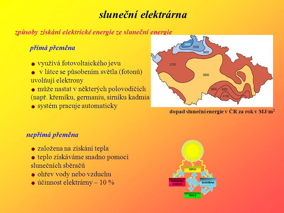 sluneční elektrárna způsoby získání elektrické energie ze sluneční energie přímá přeměna využívá fotovoltaického jevu v látce se působením světla (fot