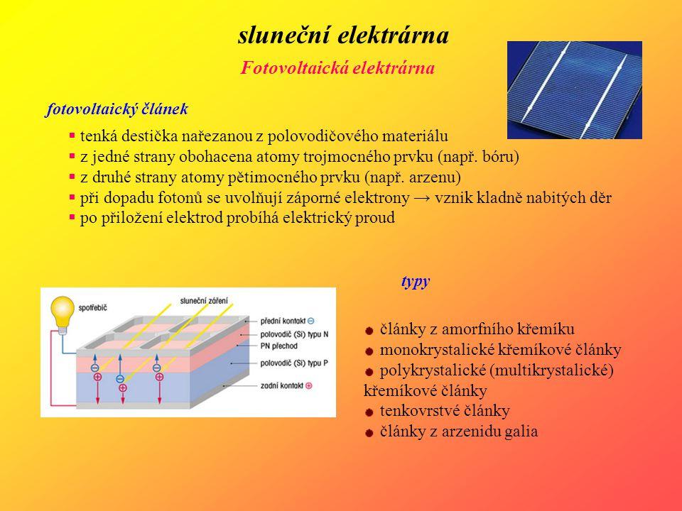 sluneční elektrárna Fotovoltaická elektrárna fotovoltaický článek  tenká destička nařezanou z polovodičového materiálu  z jedné strany obohacena ato