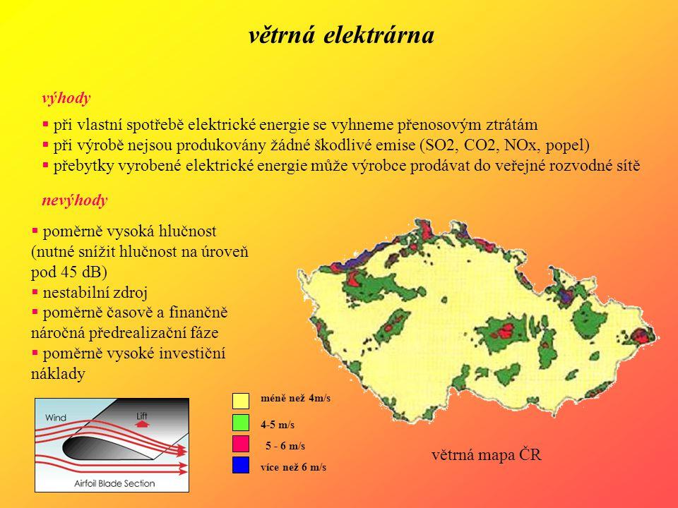 větrná elektrárna výhody  při vlastní spotřebě elektrické energie se vyhneme přenosovým ztrátám  při výrobě nejsou produkovány žádné škodlivé emise