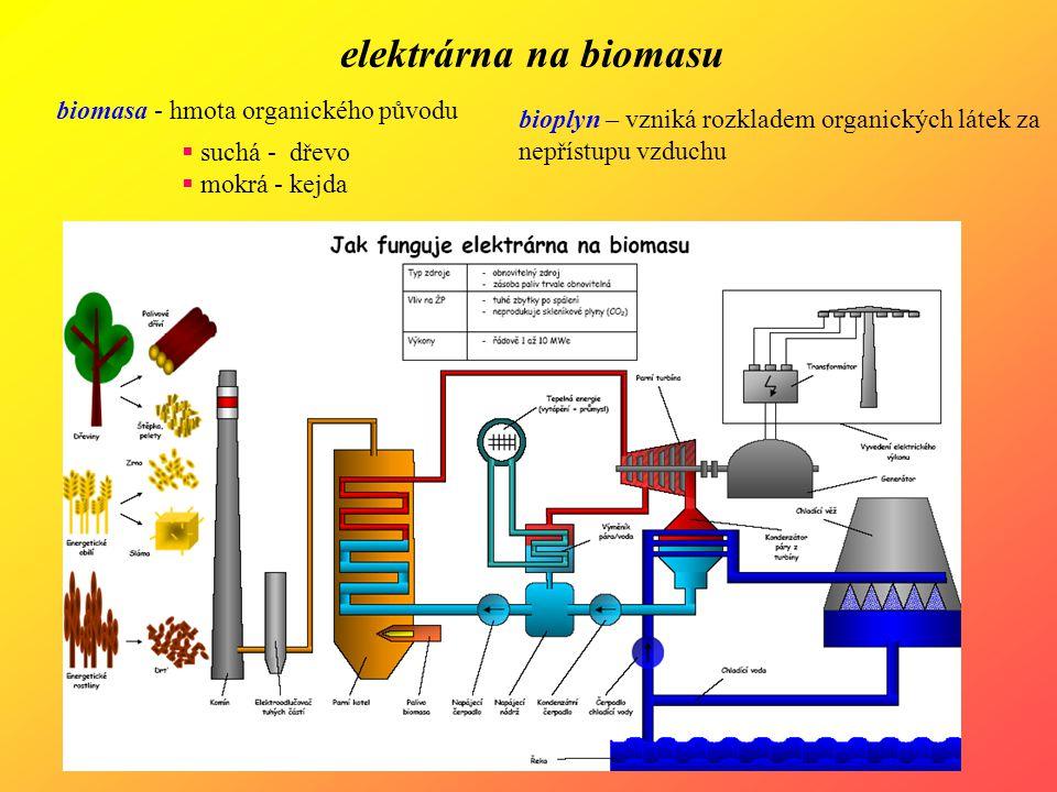 elektrárna na biomasu biomasa - hmota organického původu  suchá - dřevo  mokrá - kejda bioplyn – vzniká rozkladem organických látek za nepřístupu vz
