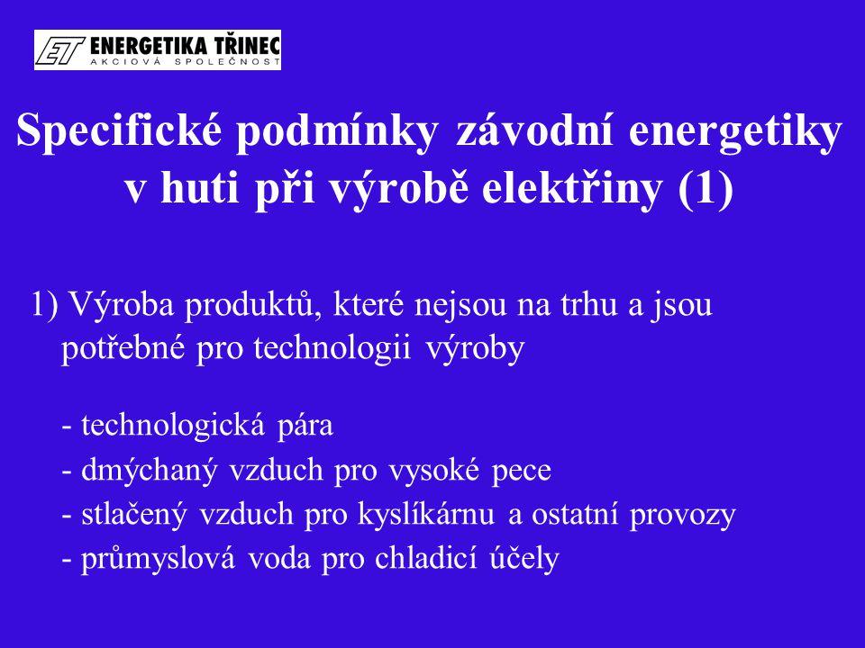 Specifické podmínky závodní energetiky v huti při výrobě elektřiny (1) 1) Výroba produktů, které nejsou na trhu a jsou potřebné pro technologii výroby