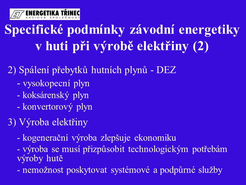 Specifické podmínky závodní energetiky v huti při výrobě elektřiny (2) 2) Spálení přebytků hutních plynů - DEZ - vysokopecní plyn - koksárenský plyn -