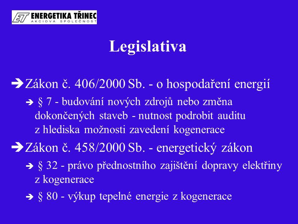 Legislativa  Zákon č. 406/2000 Sb. - o hospodaření energií  § 7 - budování nových zdrojů nebo změna dokončených staveb - nutnost podrobit auditu z h