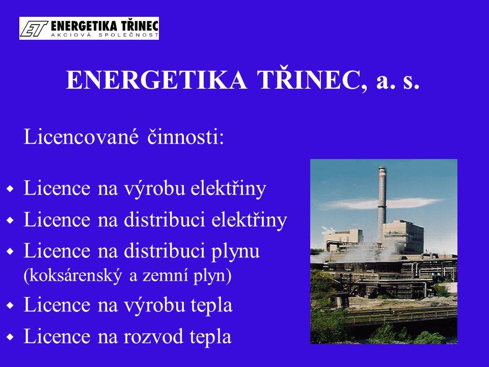ENERGETIKA TŘINEC, a. s. Licencované činnosti:  Licence na výrobu elektřiny  Licence na distribuci elektřiny  Licence na distribuci plynu (koksáren