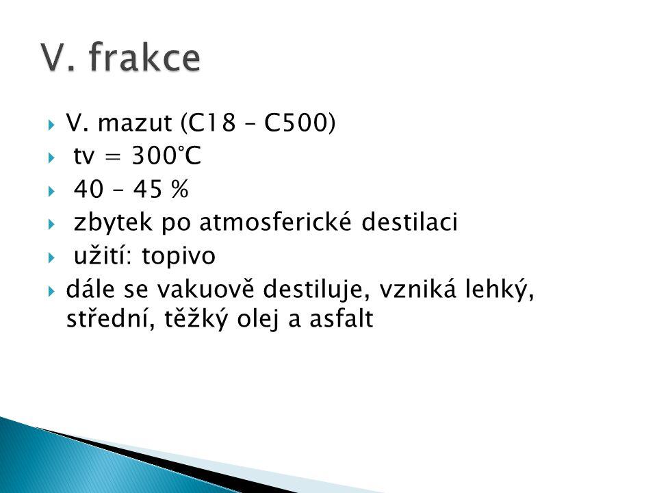  V. mazut (C18 – C500)  tv = 300°C  40 – 45 %  zbytek po atmosferické destilaci  užití: topivo  dále se vakuově destiluje, vzniká lehký, střední