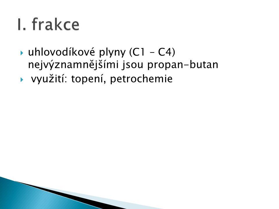  benzínová frakce (C6 – C15)  tv = 30 – 200°C  15 – 30 %  využití: palivo pro zážehové motory, rozpouštědlo nečistot, výroba barev a laků  reformování – úprava benzínu (přeměna nerozvětvených alkanů na rozvětvené)  Další zlepšení kvality přídavkem Pb(C2H5)4 - nebezpečný  jed, zamořuje okolí Pb  oktanové číslo – vyjadřuje odolnost paliva proti samozápalu  Heptan 0  Automobilový benzín 95–98  Letecký benzín cca 87–107  Závodní benzín cca 95–130  Benzín používaný ve Formuli 1 95–102 (stanoveno pravidly)  Izooktan100  LPGcca 110