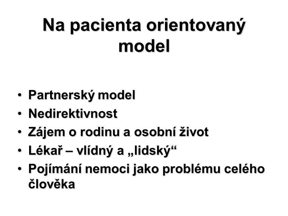 Na pacienta orientovaný model Partnerský modelPartnerský model NedirektivnostNedirektivnost Zájem o rodinu a osobní životZájem o rodinu a osobní život