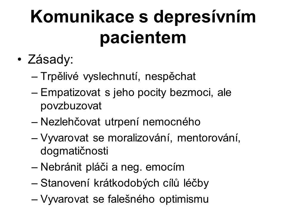 Komunikace s depresívním pacientem Zásady: –Trpělivé vyslechnutí, nespěchat –Empatizovat s jeho pocity bezmoci, ale povzbuzovat –Nezlehčovat utrpení n