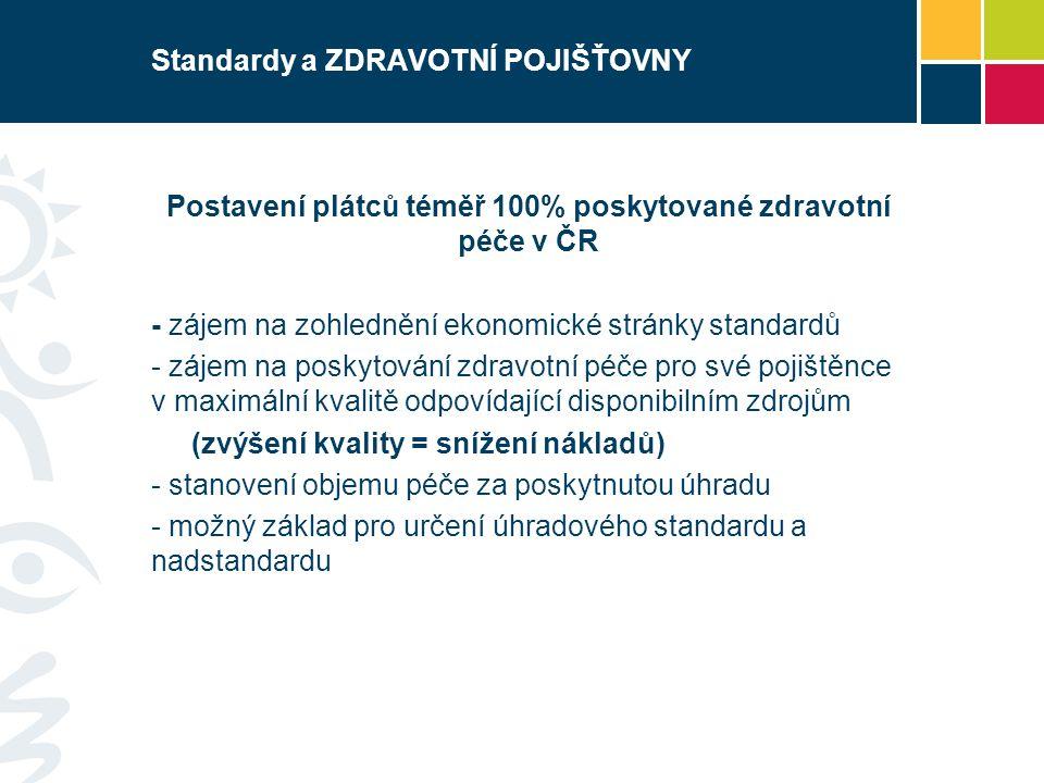 Standardy a POSKYTOVATELÉ ZDRAVOTNÍ PÉČE Postavení nositele odpovědnosti za dodržování standardů - nastavení/doplnění požadavků na personální, věcné a technické vybavení ZZ -důraz na kvalitu a bezpečnost (zvýšení kvality = snížení nákladů) - možná návaznost péče poskytované dle standardu na úhradu - srozumitelnější posuzování zda péče byla poskytnuta lege či non lege artis
