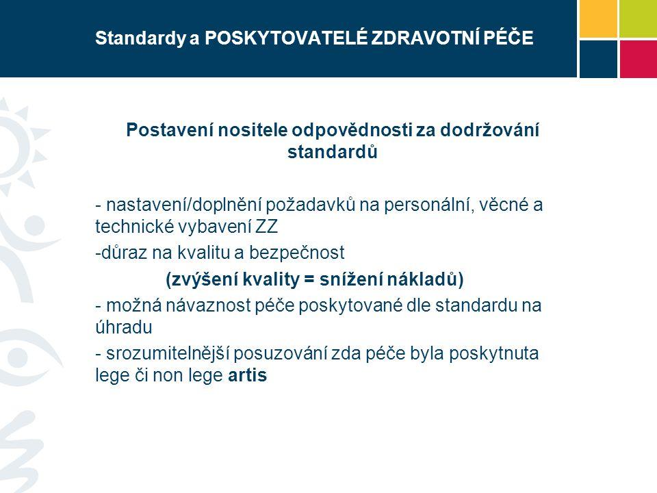 Standardy a POSKYTOVATELÉ ZDRAVOTNÍ PÉČE Postavení nositele odpovědnosti za dodržování standardů - nastavení/doplnění požadavků na personální, věcné a
