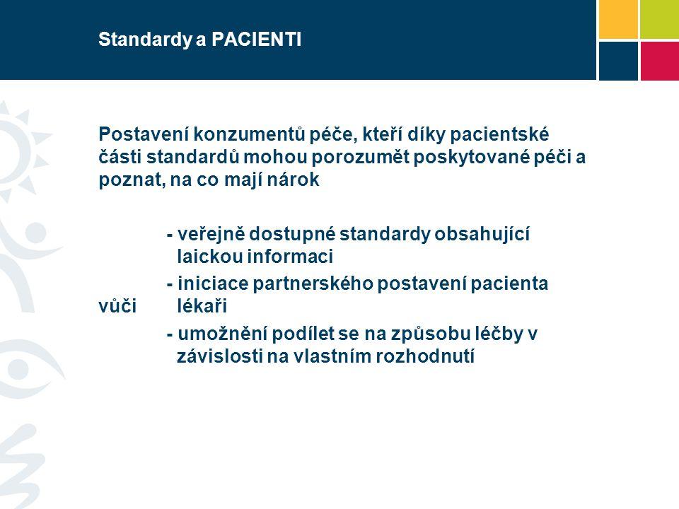 Standardy a PACIENTI Postavení konzumentů péče, kteří díky pacientské části standardů mohou porozumět poskytované péči a poznat, na co mají nárok - ve