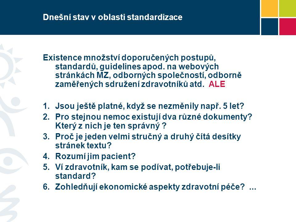 Dnešní stav v oblasti standardizace Existence množství doporučených postupů, standardů, guidelines apod. na webových stránkách MZ, odborných společnos