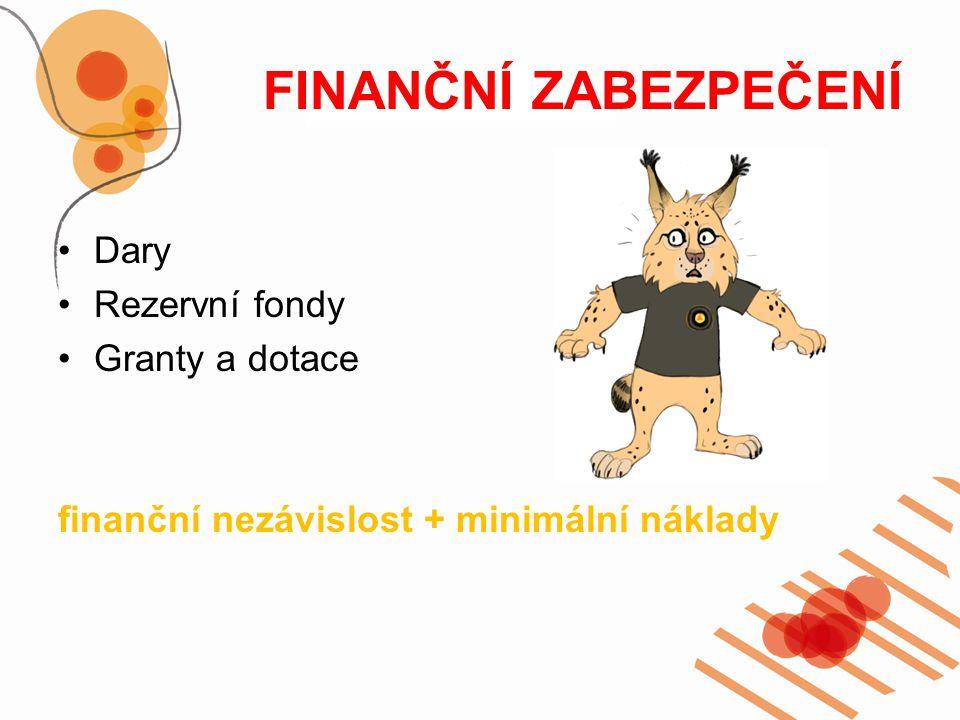 FINANČNÍ ZABEZPEČENÍ Dary Rezervní fondy Granty a dotace finanční nezávislost + minimální náklady