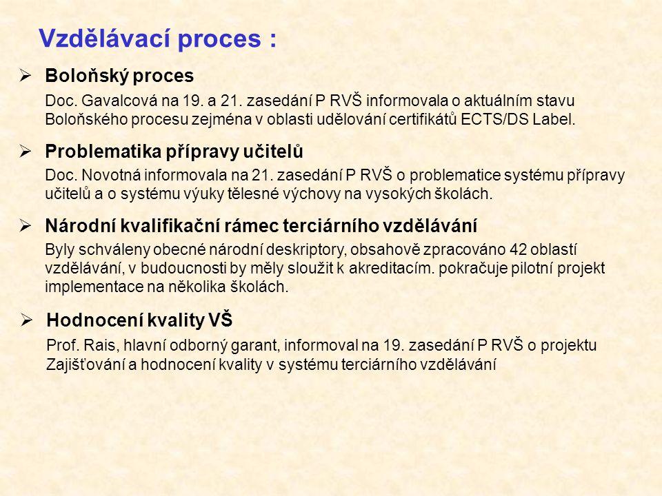 Vzdělávací proces :  Boloňský proces Doc. Gavalcová na 19. a 21. zasedání P RVŠ informovala o aktuálním stavu Boloňského procesu zejména v oblasti ud
