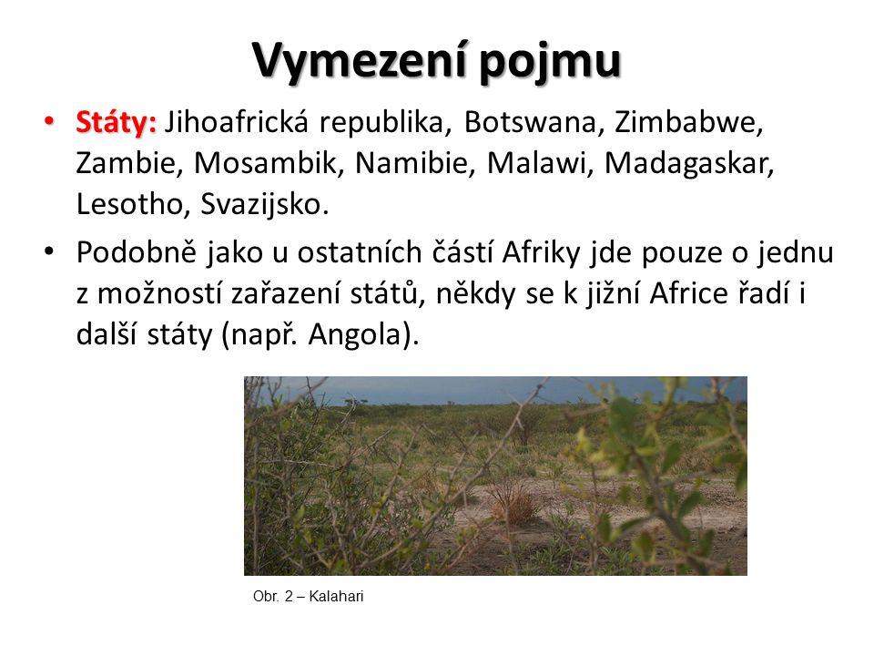 Vymezení pojmu Státy: Státy: Jihoafrická republika, Botswana, Zimbabwe, Zambie, Mosambik, Namibie, Malawi, Madagaskar, Lesotho, Svazijsko. Podobně jak