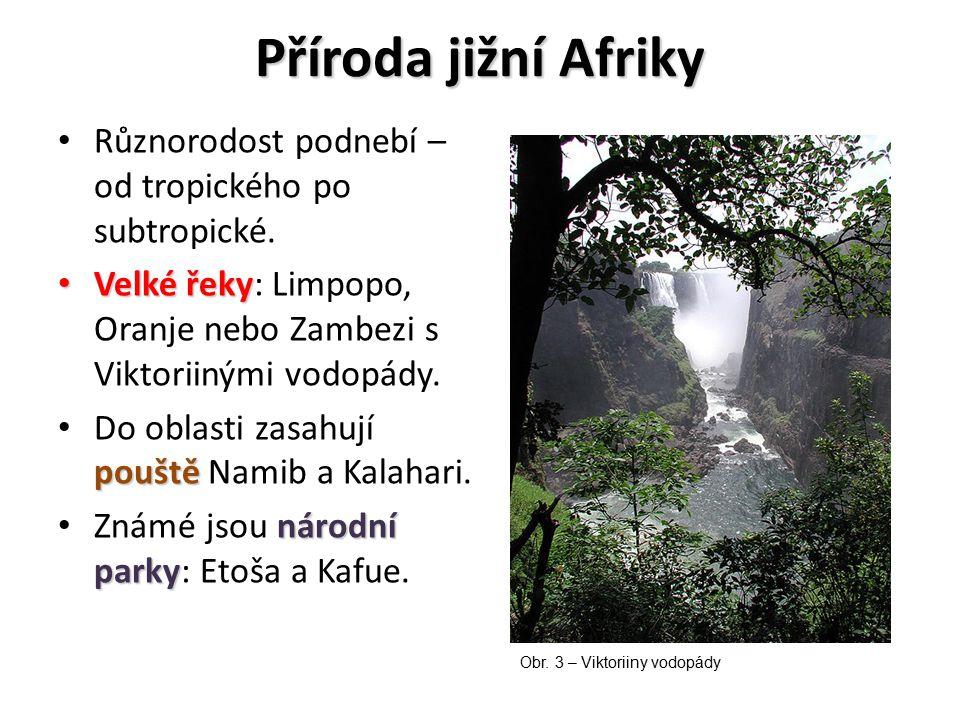 Příroda jižní Afriky Různorodost podnebí – od tropického po subtropické. Velké řeky Velké řeky: Limpopo, Oranje nebo Zambezi s Viktoriinými vodopády.