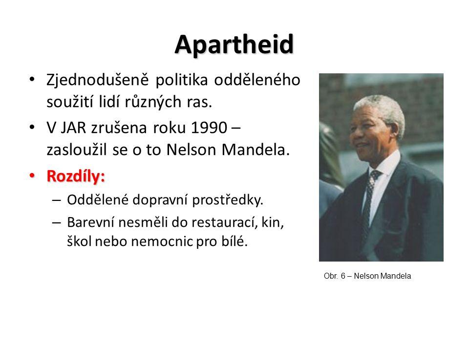 Apartheid Zjednodušeně politika odděleného soužití lidí různých ras. V JAR zrušena roku 1990 – zasloužil se o to Nelson Mandela. Rozdíly: Rozdíly: – O