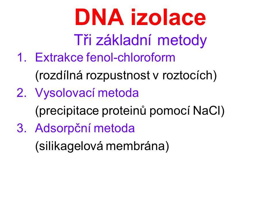 DNA izolace Tři základní metody 1.Extrakce fenol-chloroform (rozdílná rozpustnost v roztocích) 2.Vysolovací metoda (precipitace proteinů pomocí NaCl)