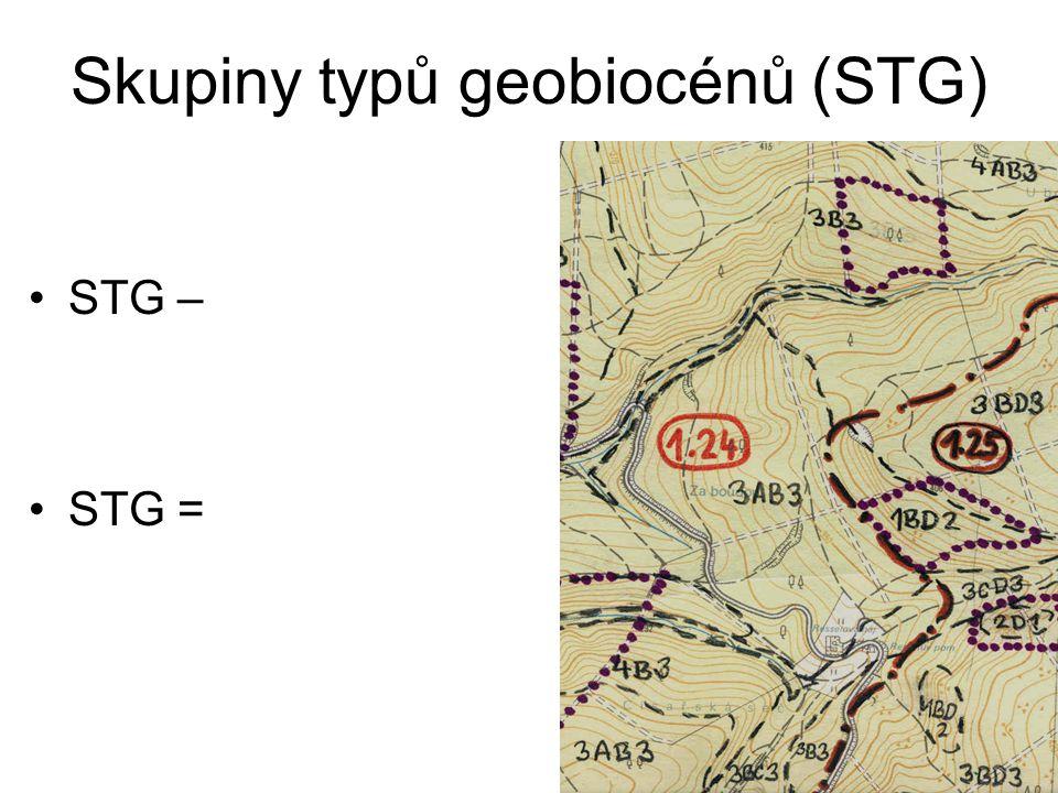 Skupiny typů geobiocénů (STG) STG – STG =