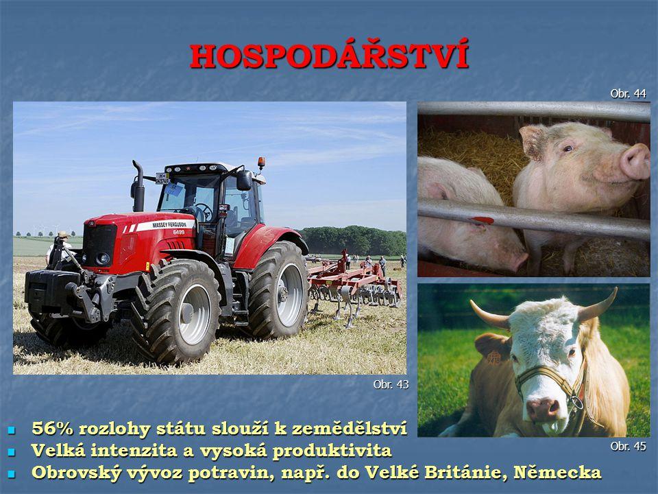 56% rozlohy státu slouží k zemědělství 56% rozlohy státu slouží k zemědělství Velká intenzita a vysoká produktivita Velká intenzita a vysoká produktiv