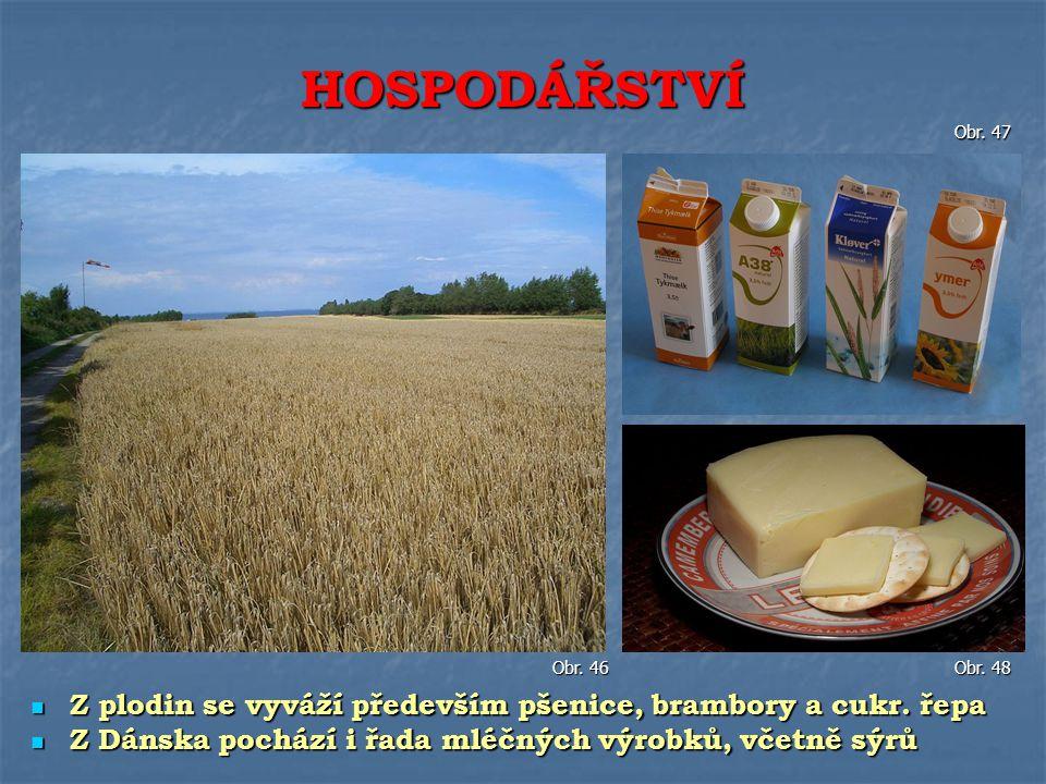 Z plodin se vyváží především pšenice, brambory a cukr. řepa Z plodin se vyváží především pšenice, brambory a cukr. řepa Z Dánska pochází i řada mléčný