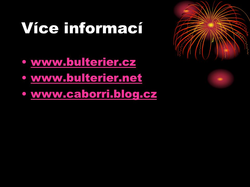Více informací www.bulterier.cz www.bulterier.net www.caborri.blog.cz