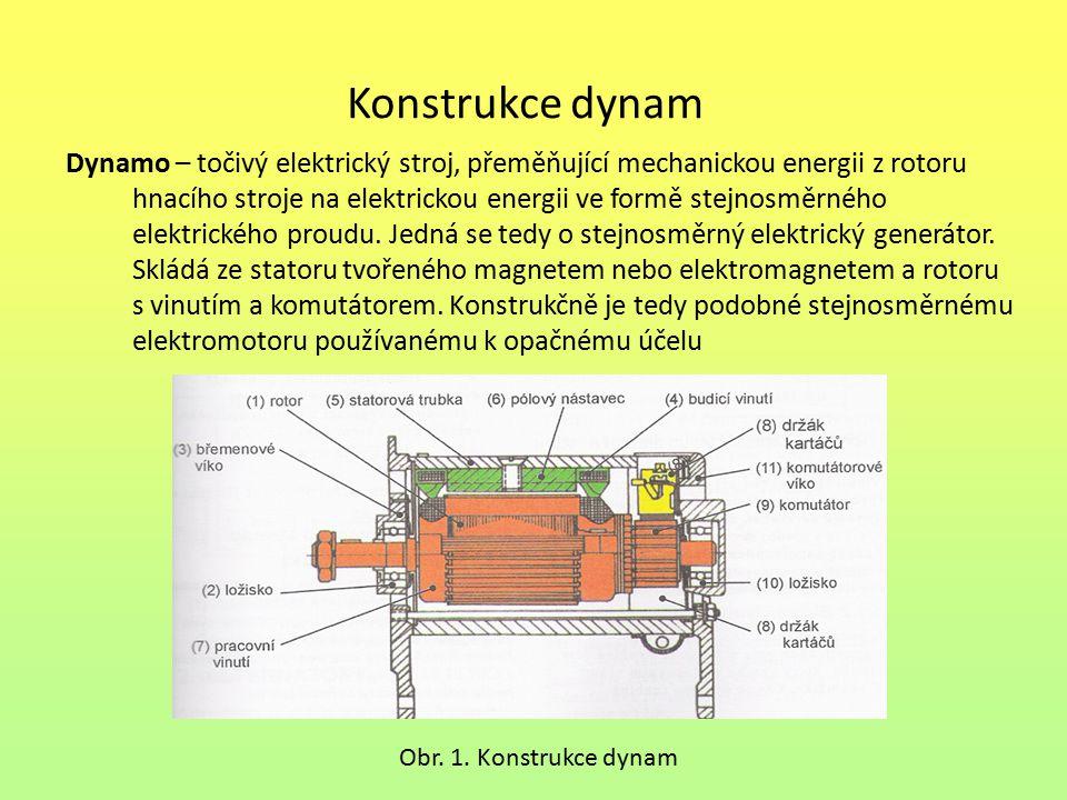 Druhy dynam Podle způsobu zapojení statoru dělíme dynama na:  dynamo s permanentním magnetem  dynamo s cizím buzením – typicky v průmyslové výrobě elektrického proudu.