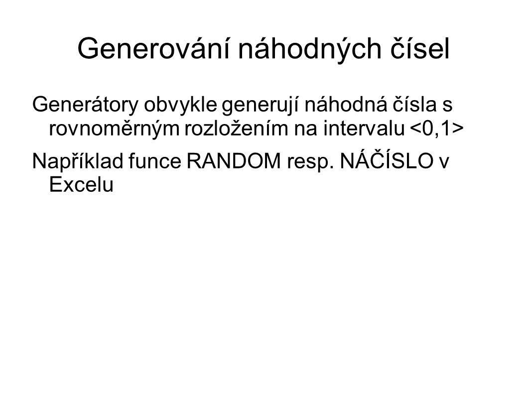 Generátory obvykle generují náhodná čísla s rovnoměrným rozložením na intervalu Například funce RANDOM resp. NÁČÍSLO v Excelu